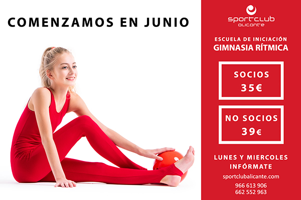 Smiling gymnast girl in a red jumpsuit sitting on a white background with ball, isolate